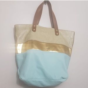 Steve Madden Light Aqua and Gold Striped Tote Bag